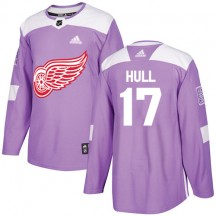 Brett Hull Detroit Red Wings Adidas Men's Authentic Fights Cancer Practice Jersey - Purple